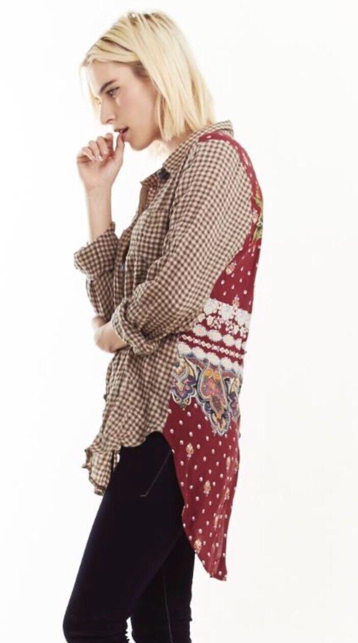 NWT ARATTA  Selena Taste Down Tunic oben Hemd Floral  Plaid  XL Taupe