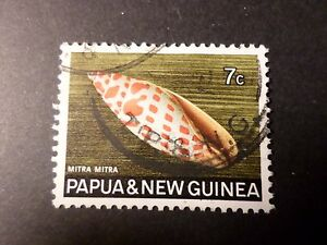 PAPUA-amp-NEW-GUINEA-timbre-142-COQUILLAGE-MITRA-MITRA-oblitere-SHELL-VF-STAMP