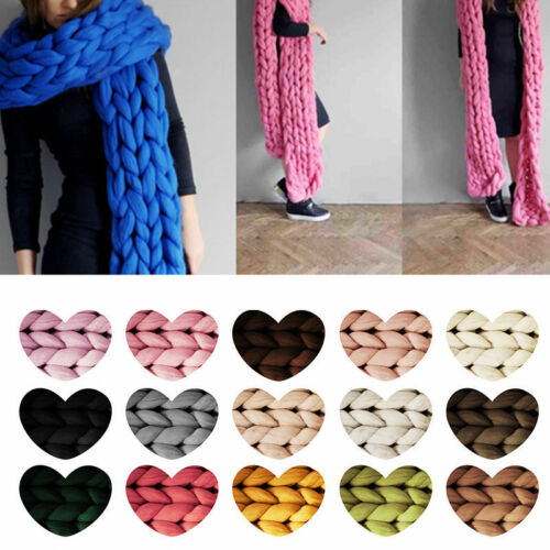 45M Soft Bulky Thick Chunky Wool Roving Yarn Arm DIY Knitting Scarf Felting