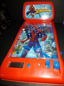 Marvel Spiderman Tabletop Pinball Game Arcade Lights and Sounds Electronic Used