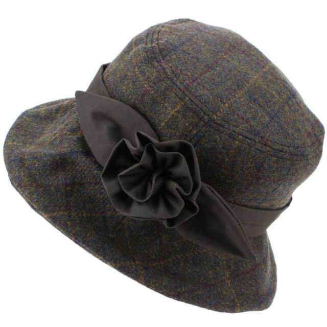 87434ffa8 Tweed Cloche Hat Ladies Wool Winter Brim Hawkins WAX WAXED COTTON BAND  FLOWER