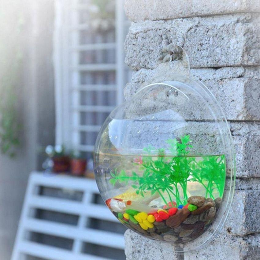 wall mounted fish tank bowl aquarium hanging terrarium goldfish betta ebay. Black Bedroom Furniture Sets. Home Design Ideas