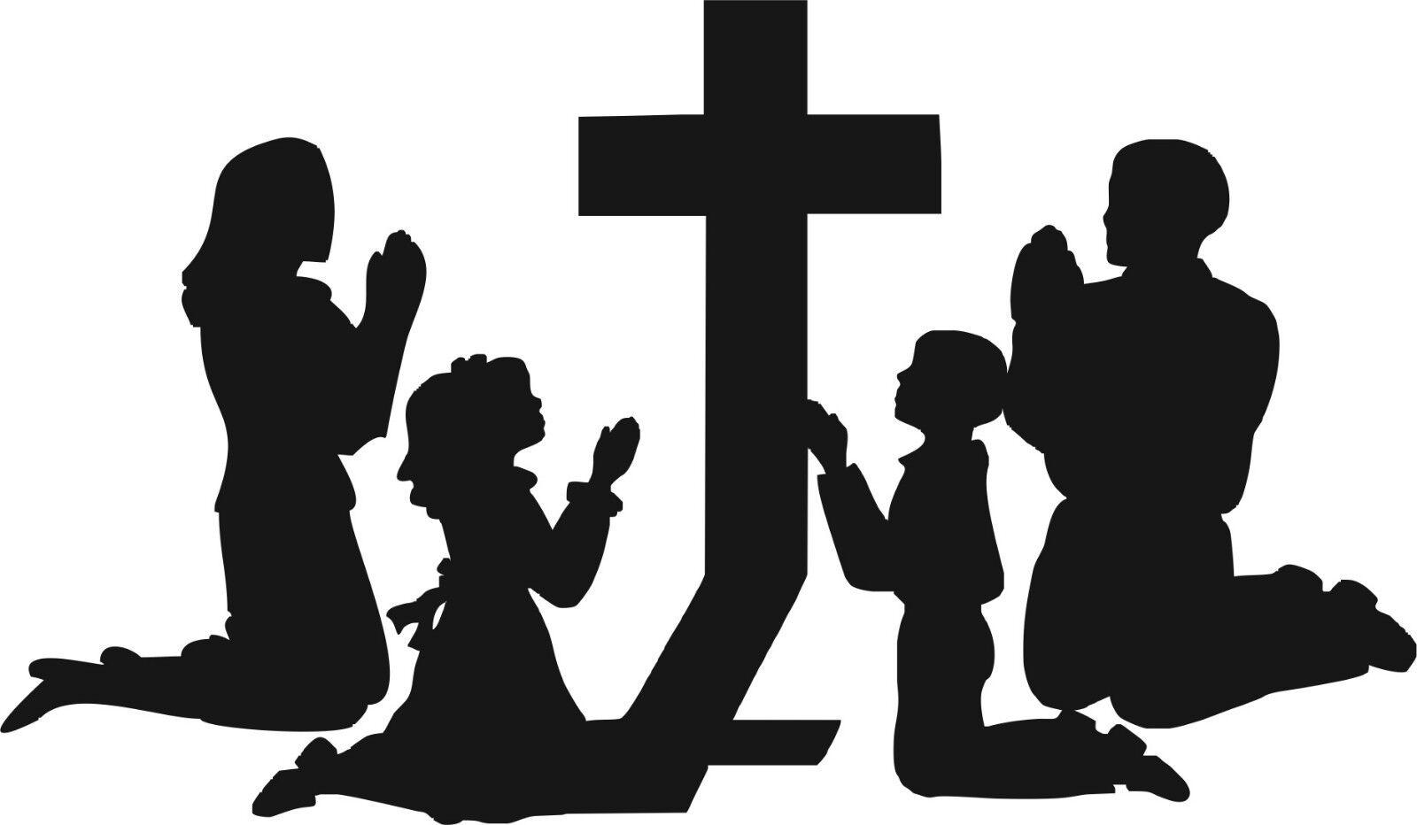 Child Praying at a Cross White Vinyl Car Window Cutout Sticker Computer