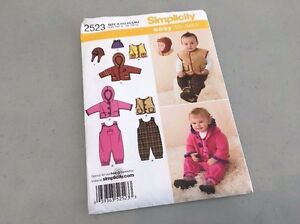 JACKET VEST HATS SIMPLICITY SEWING PATTERN 2523 BABY BOY//GIRL SZ XXS-L OVERALLS