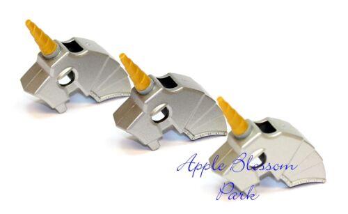 NEW Lego Lot//3 Castle Silver Gray HORSE BATTLE HELMET w//Gold Animal Horn Weapon