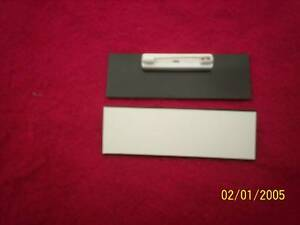 20 white black blank name badges tags 1x3 with pins ebay