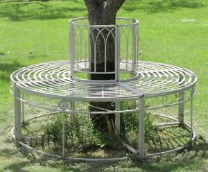 Ischia steel garden tree seat cream full circular metal bench furniture circle ebay Circular tree bench