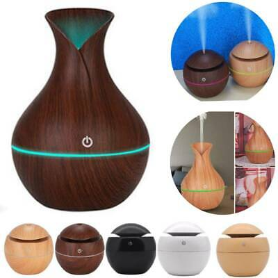 LED Wood Grain Humidifier USB Intelligent Induction Ultrasonic Air Aroma Essential Oil Diffuser for Office Home Night Light