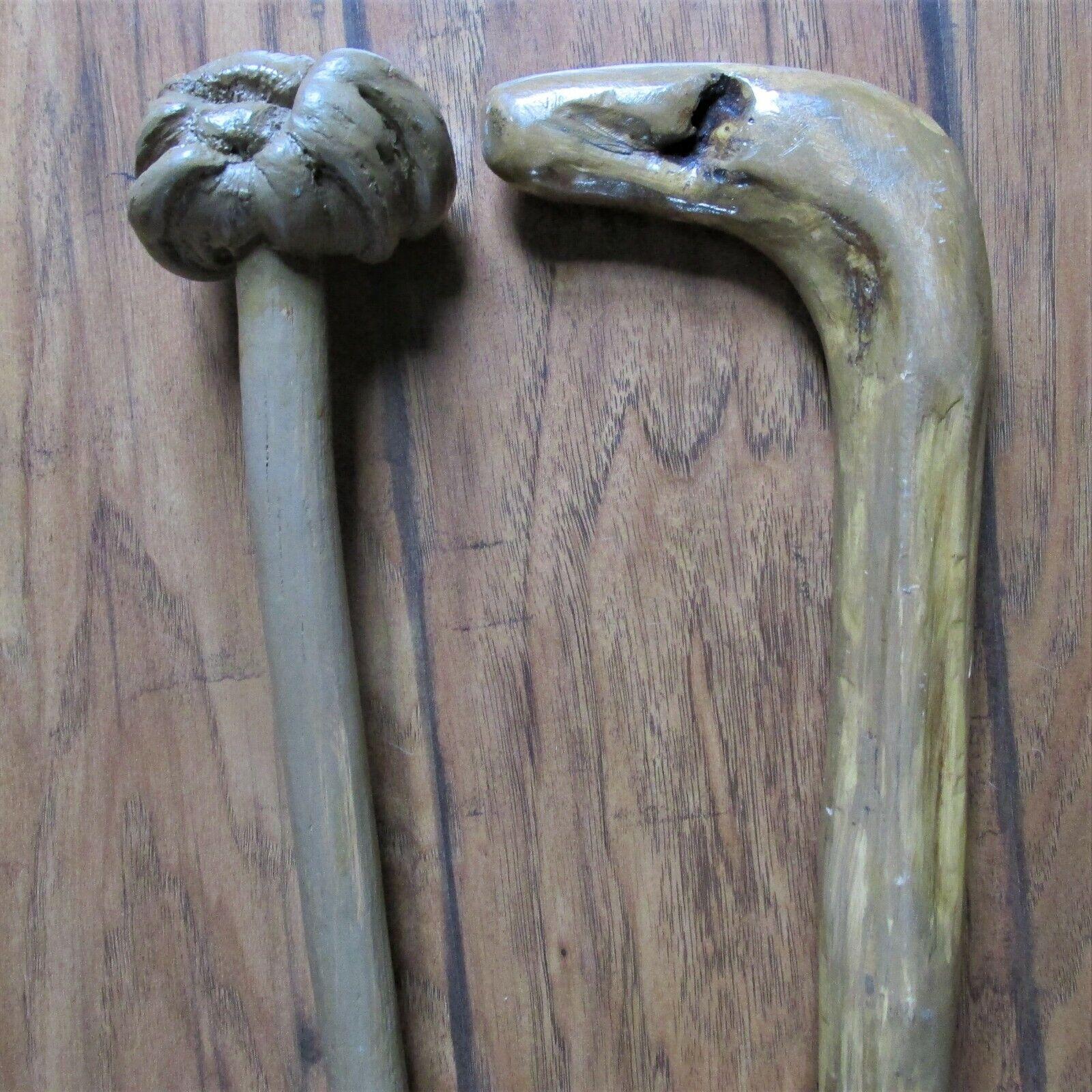 (2) Handmade Folk Art Natural Wood Walking Sticks/Canes Nice