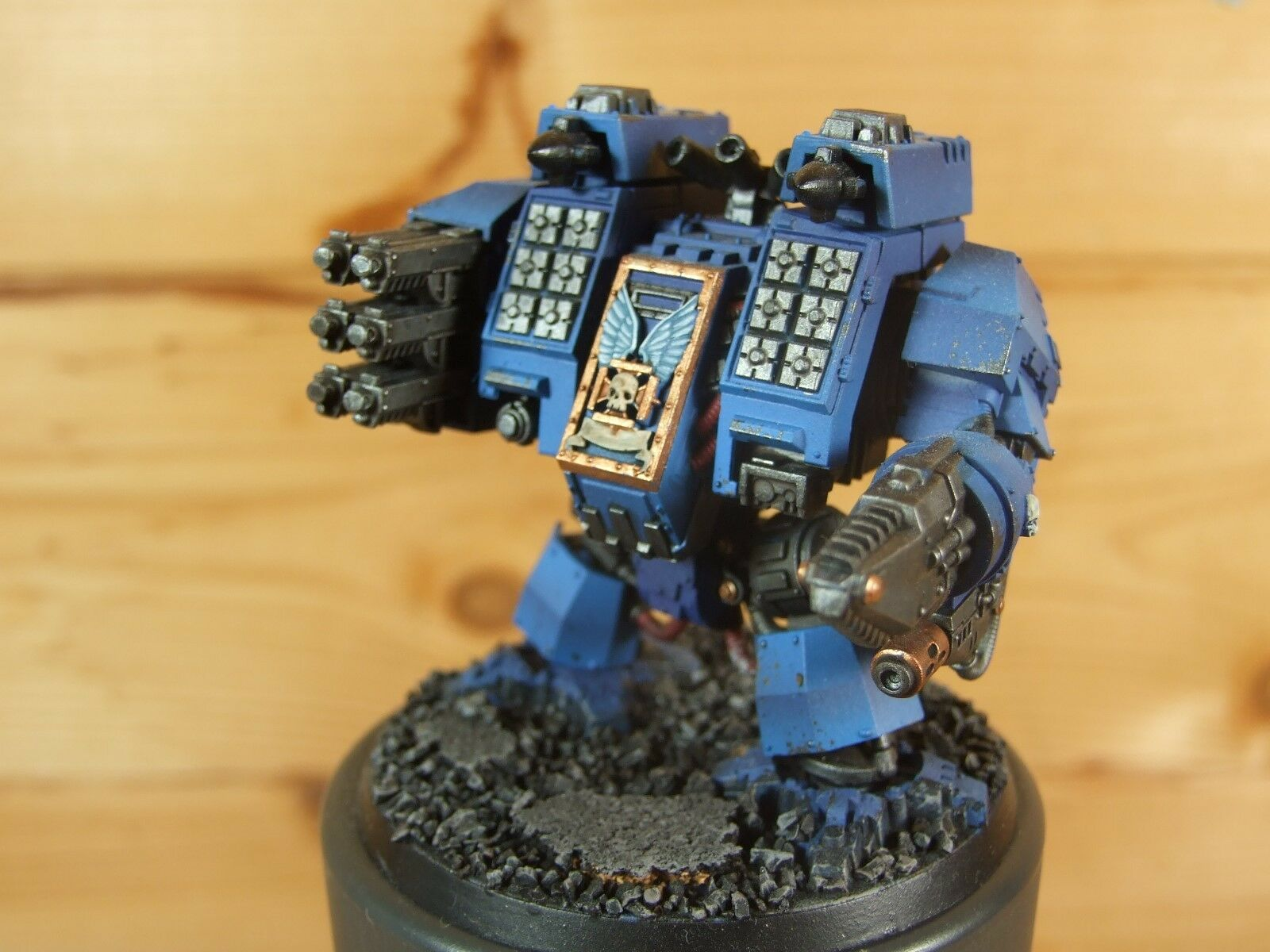 PLASTIC WARHAMMER SPACE MARINE ULTRAMARINE IRONCLAD DREADNOUGHT WELL PAINTED (L)