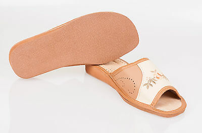 Ladies/womens 100% Cuero Natural Zapatillas UK Size:3,4,5,6,7,8 tkbr