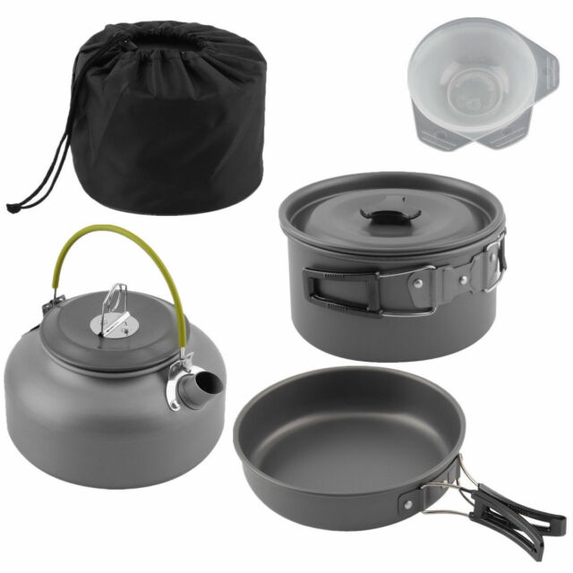 7966237572f Portable Camping Cook Cooking Cookware Set Anodised Aluminium Pots Pans