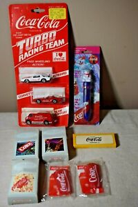 Vintage-Coca-Cola-Coke-Youth-Lot-Turbo-Racing-Team-Cars-Polar-Bear-Pen-Puzzles