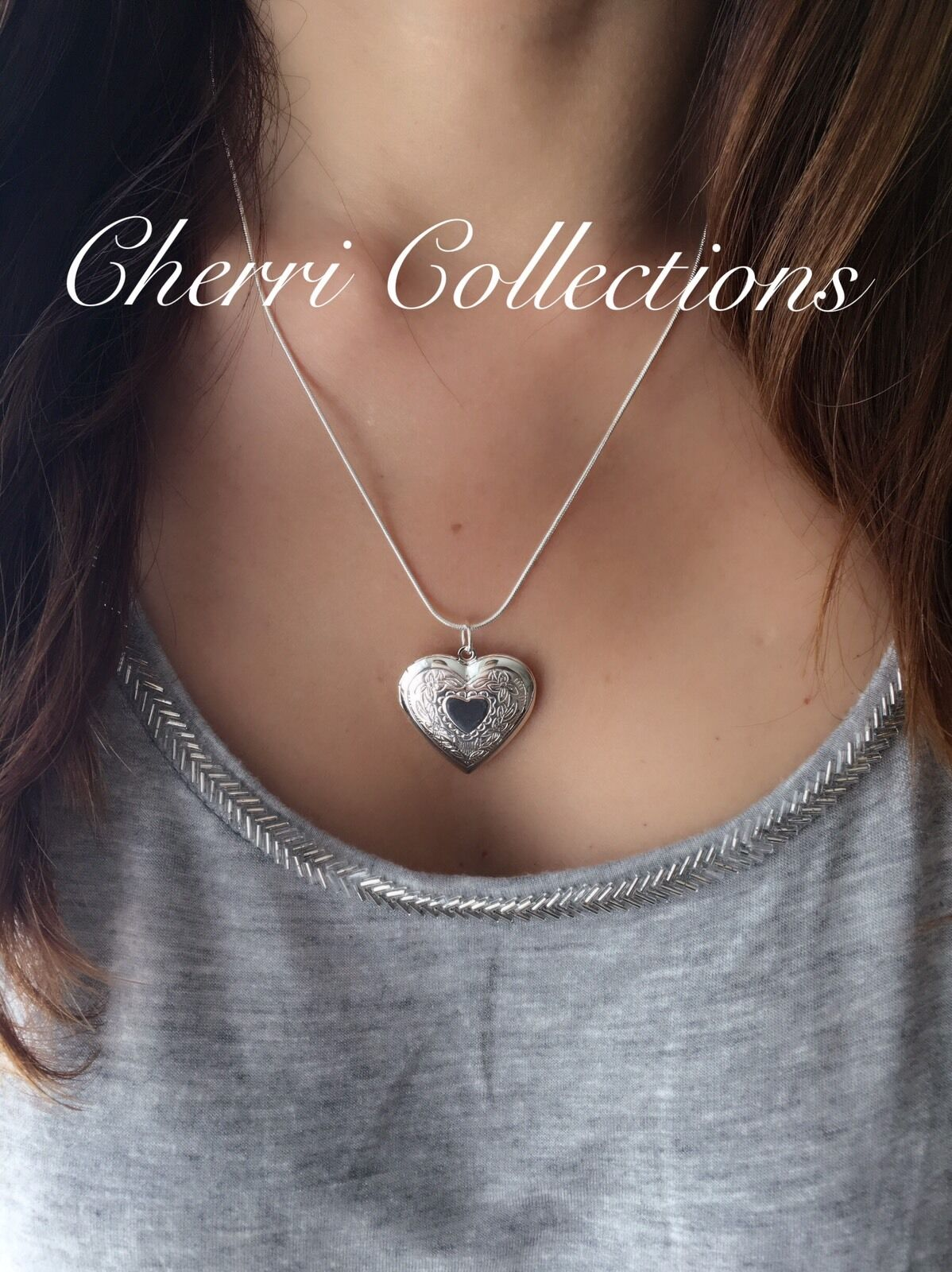 """925 Sterling Silver Heart Necklace, Locket Photo Picture Pendant 18""""  N1"""