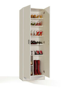 Tall-Wide-White-Storage-Shoe-Utility-Bookcase-Cupboard-Shelf-Armario-2P