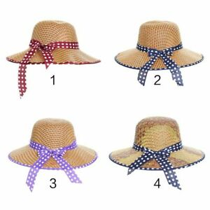 971840bd9 Details about Women Summer Straw Sun Bucket Hat Dot Printed Trim Ribbon  Bowknot Wide Wavy Brim
