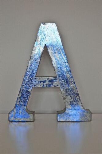 Large 14 inch 3 dimensional metal sign letter A blue metallic finish shop font