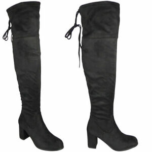 Womens-Over-The-Knee-Boots-Ladies-Black-Thigh-High-Block-Heel-Lace-Up-Shoes-Size