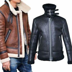 Winter-Men-039-s-Fleece-Lining-Coat-Suede-Leather-Thick-Warm-Black-Biker-Jacket