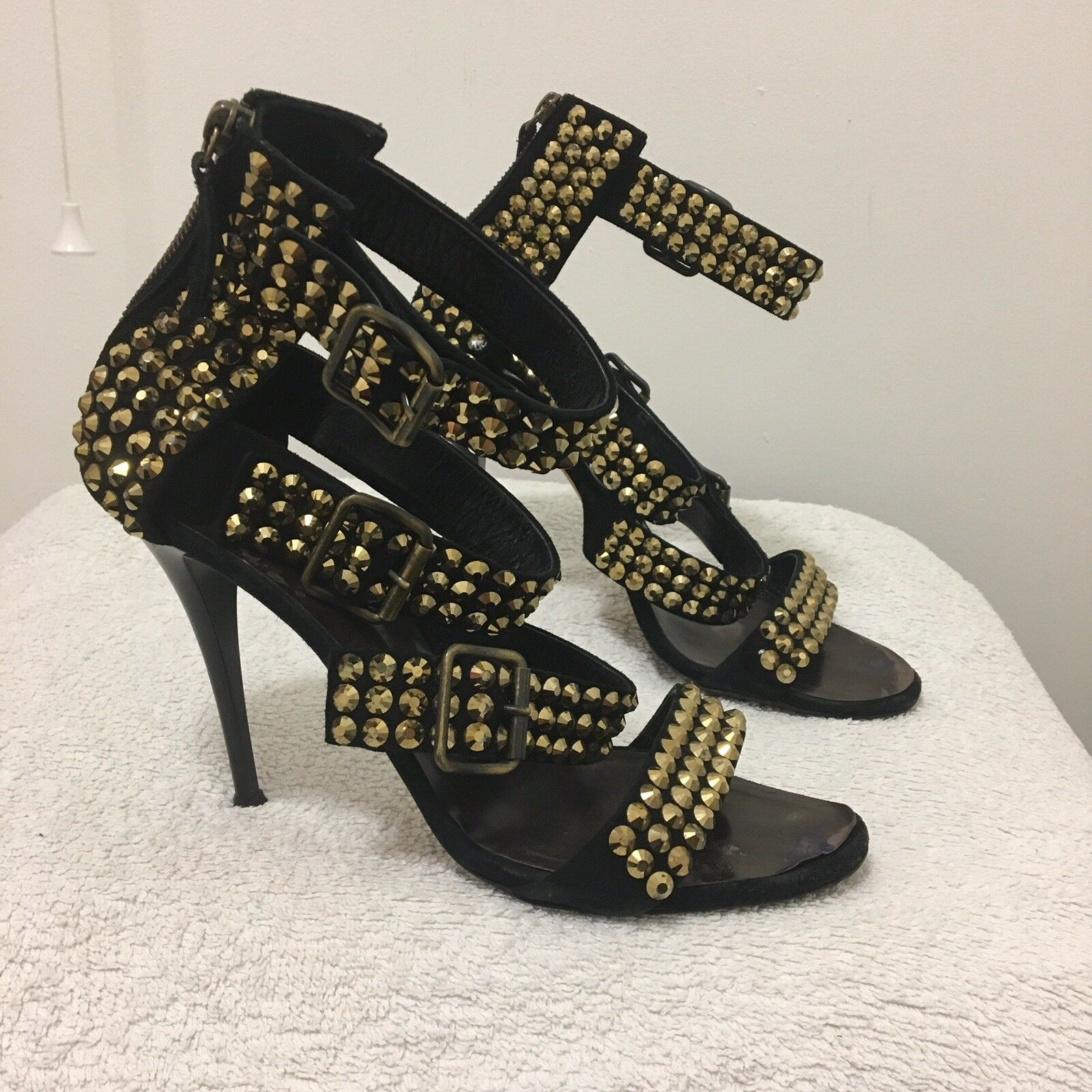 Giuseppe zanotti gold Stud Buckle High Heels Size Uk 6 39 Exclusive