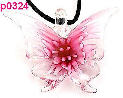 Lifelike Butterfly art glass beaded pendant necklace p0324 one