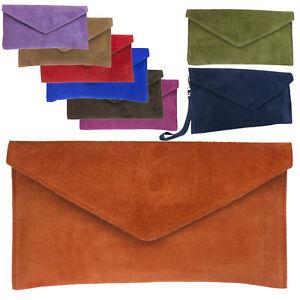 UK-Women-Genuine-Italian-Suede-Leather-Envelope-Clutch-Wristlet-Shoulder-Handbag