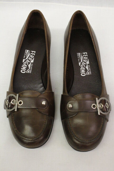 SALVATORE FERRAGAMO Brown Leather Heeled Loafers, Loafers, Loafers, Womens Size 9,  (45) 8ede3c