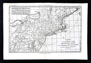 Details about 1779 Bonne Map - New England Massachusetts New York  Pennsylvania United States