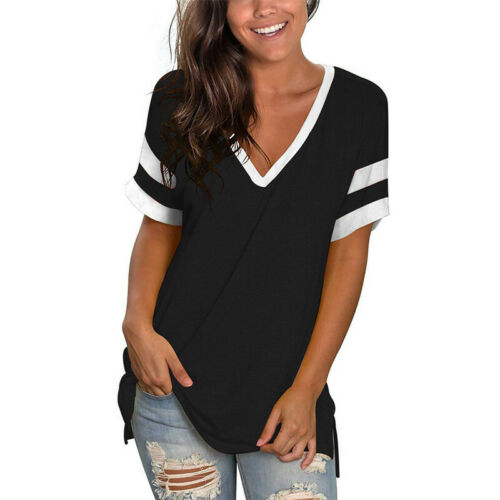 Women V Neck Striped T-Shirt Ladies Short Sleeve Loose Blouse Casual Summer Tops