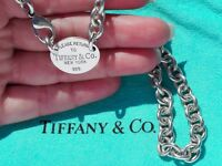 Tiffany & Co Return To Tiffany Oval Tag Choker Sterling Silver Necklace