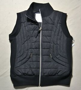 New W Out Tags Womens Calvin Klein Quilted Ribbed Black
