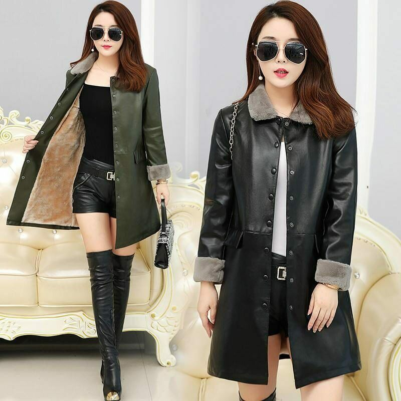 XL-5XL Winter Fleece Female Leather Jacket PU Leather Jacket For Women Casual