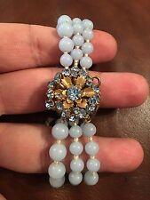 Miriam Haskell Blue Glass Beaded Multi Strand Bracelet AMAZING!!!