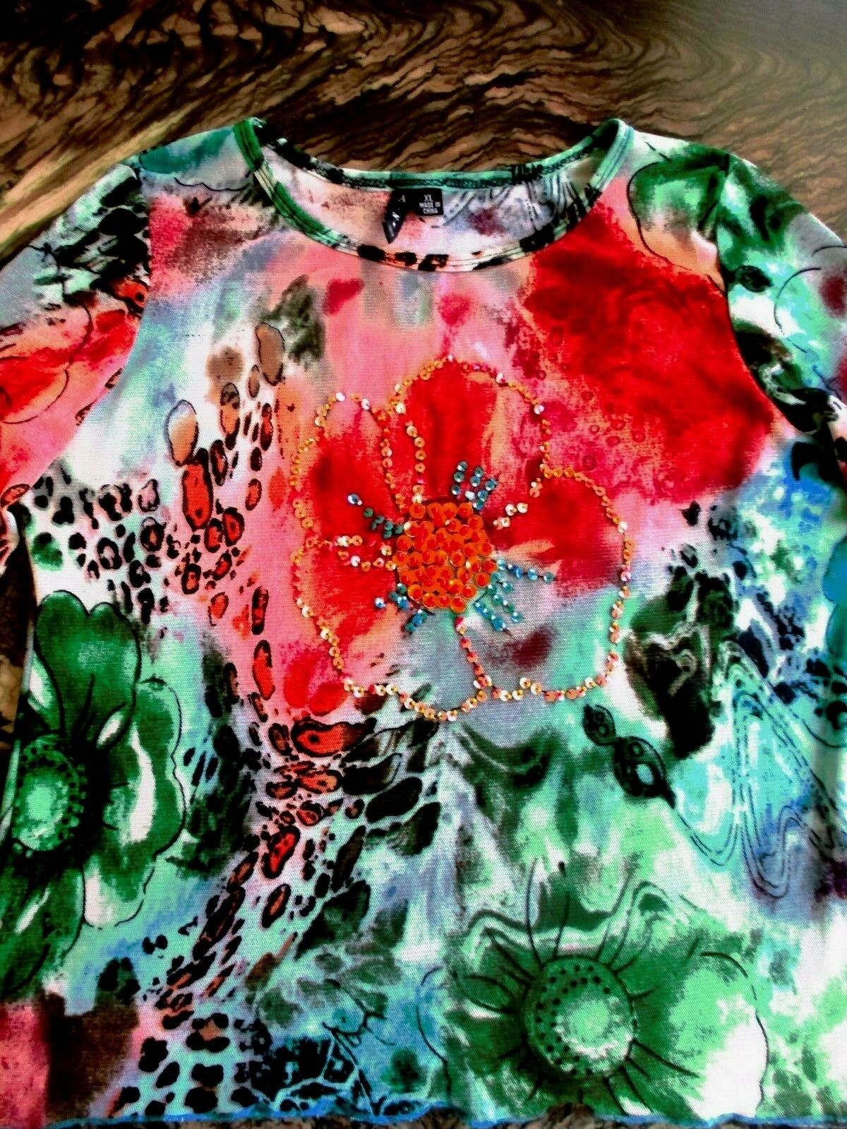 AZI   TOP BLOUSE LONG SLEEVE  MULTI-COLOR TROPICAL EMBELLISHED  SIZE XL NWOT