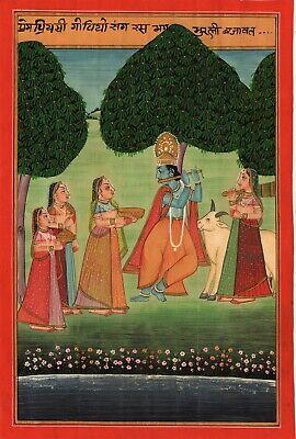 Kangra Gita Govinda Art Handmade Indian Miniature Krishna Radha Pahari  Painting   eBay