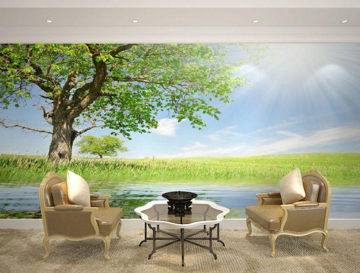 3D Bäume am Fluss, Wasser  Fototapeten Wandbild Fototapete BildTapete Familie DE