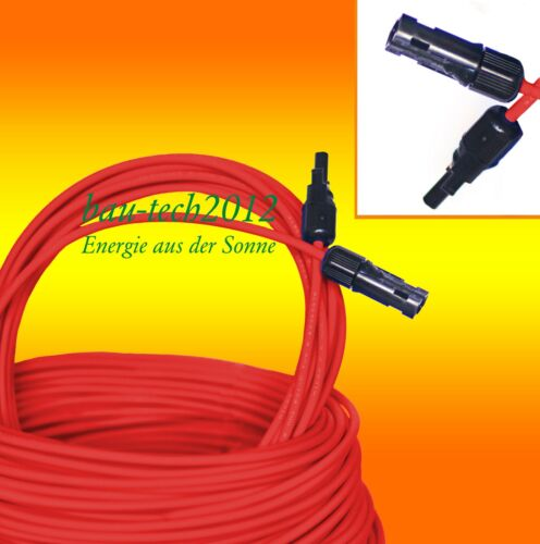 2 x Solar Cable 10m Red and 10m Blue 6mm2 Incl Mounted Mc 4 Plug Shipping Free