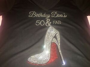 dd4b77110 Birthday Diva's 50 and Fabulous shirt 50th fifty women's bday t ...