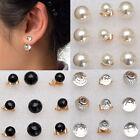 1Paire Femme Mode Boucles D'oreilles Boule Double Fausse Perle Bijoux Celebrite*