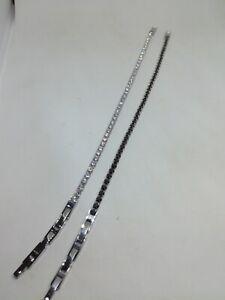 selezione migliore 38f26 05916 Dettagli su Bracciale unisex acciaio TENNIS ZIRCONI MM 3 zirconi neri e  bianchi cm 21,50