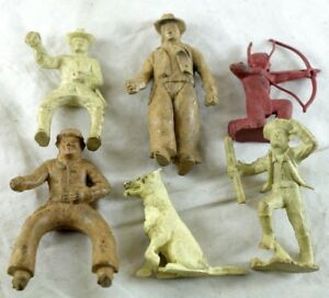 1950-039-s-Marx-Western-Figures-Teddy-Roosevelt-Tin-Tin-Dog-Vintage-Originals