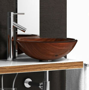vasque lavabo en verre effet bois a poser ou encastrer pour salle de bain neuf ebay. Black Bedroom Furniture Sets. Home Design Ideas