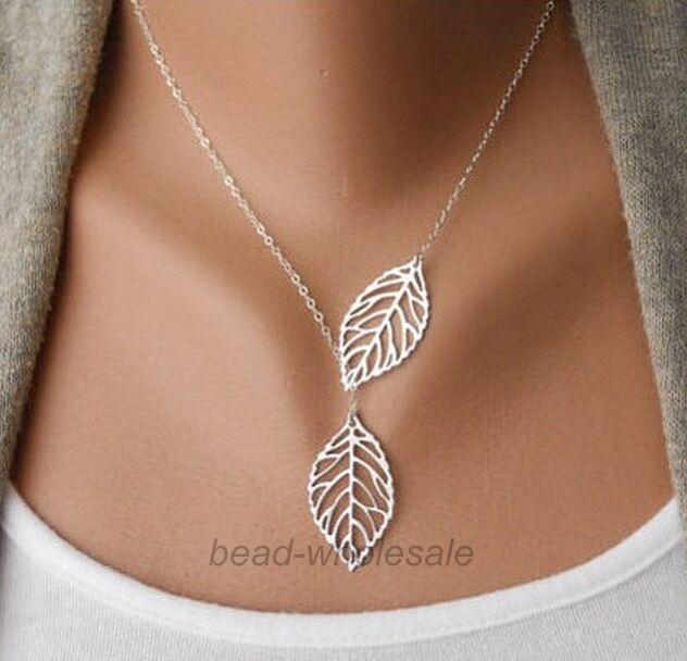 Womens Stylish New 2 Leaves Choker Collar Statement Pendant Necklace
