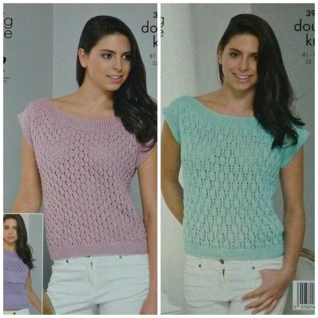 Womens Lace Effect Sweater /& Cardigan Knitting Pattern King Cole Glitz DK 4401