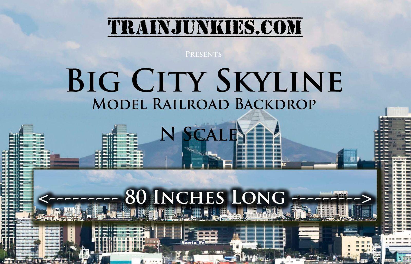 Trainjunkies N Scale Gran Ciudad Skyline modelo del ferrocarril telón de fondo 12x80