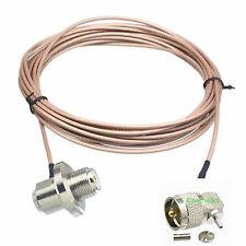 PL259 to SO239 bulkhead UHF VHF 90° car mobile radio antenna RG316 cable 16FT