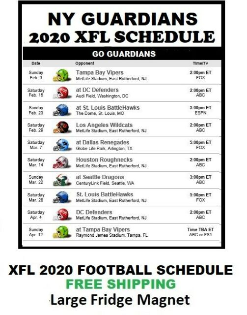 2020 New York Guardians XFL Team Football Schedule