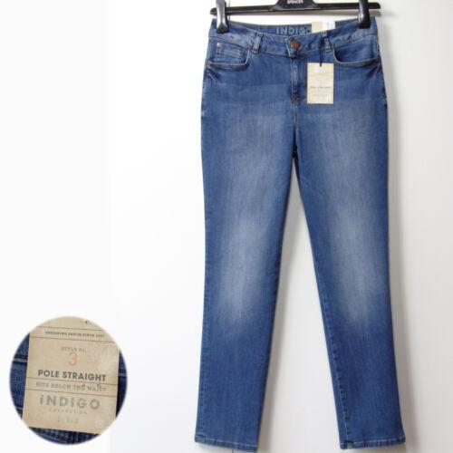 New M/&S Indigo Collection POLE STRAIGHT Denim JEANS ~ Size 12 Medium ~ MID BLUE