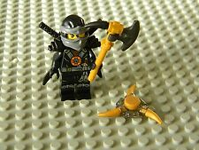 Lego Ninjago - Cole minifig with Swords, Axe and Throwing star- New Condition !!