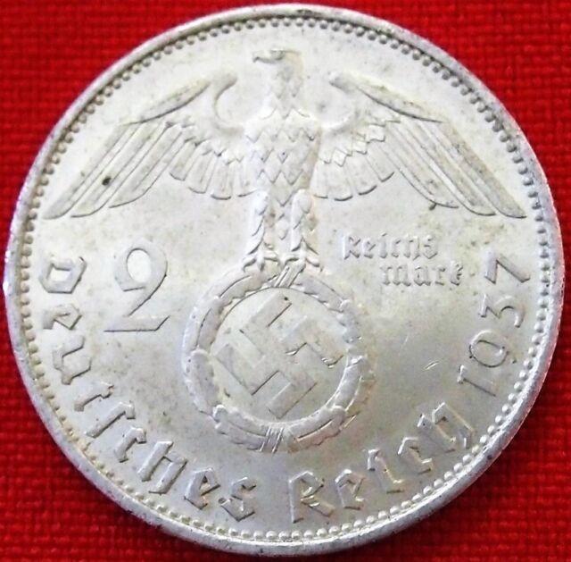 **WW2 SILVER NAZI GERMANY 2 REICHSMARK COIN RARE 100% ORIGINAL